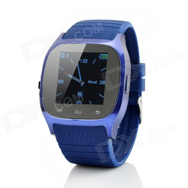 M26 1.4 TFT Bluetooth V3.0 Smart Watch w/ Pedometer, Altimeter - BlueSmart Watches<br>Form  ColorBlueModelM26Quantity1 DX.PCM.Model.AttributeModel.UnitMaterialAlloy + plasticShade Of ColorBlueWater-proofNoBluetooth VersionBluetooth V3.0Touch Screen TypeTFTOperating SystemNoCompatible OSAndroid, iOSBattery Capacity230 DX.PCM.Model.AttributeModel.UnitBattery TypeLi-ion batteryStandby Time180 DX.PCM.Model.AttributeModel.UnitOther FeaturesScreen Resolution: 128x128;<br>Memory: 4MB+4MB;<br>Speaker: Built-in 8ohm/0.5W speaker;<br>Operating languages: English, French, Spanish, Portuguese, Korean, Italian, German, Indonesian, Finnish, Vietnamese, Turkish, Russian, Arabic, Thai, Swedish.Packing List1 x Smart watch1 x USB charging cable (55cm)1 x Chinese / English user manual<br>