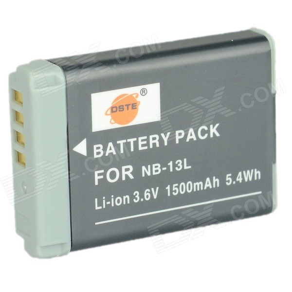 DSTE 1500mAh NB-13L Battery for Canon PowerShot G7X Camera+More - Gray