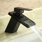 Antique ORB Finish Waterfall Bathroom Sink Faucet - Black