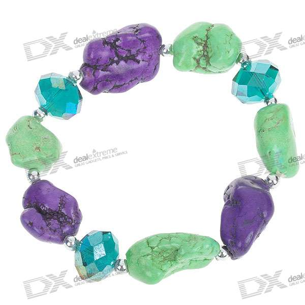 Green and Purple Turquoise with Mystic Quartz Silver Bracelet