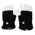 Cool Cotton Gloves w/ Built-in LED Light for Pub / Club / Party - White + Black (Pair)