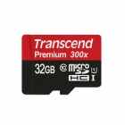 Transcend Premium Micro SDHC TF Flash Memory Card - Black (32GB 300X)