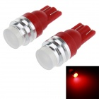 T10 1W LED Car Clearance / Steering Lamp Red Light 700nm 60lm - Red + Silver (12V / 2PCS)