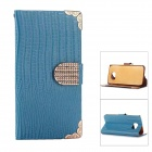 Lizards Stripe Electroplating Protective PU Leather Case for Samsung Galaxy S6 - Blue