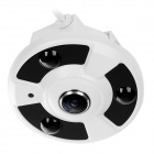 "1/4"" CMOS 1.3MP P2P H.264 180 Degrees Fisheye IP Camera w/ 3-IR-LED - White (US Plug)"