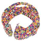 Multicolor Gemstone Beads Cuff Bracelet-Orange and Purple