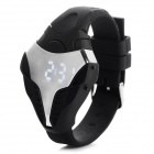 MAIKOU W01 Fashionable TPU Wrist Band White Light LED Digital Watch - Black + White (1 x CR2016)