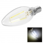 JOYDA E14 2W LED Filament Bulb Lamp White Light 6200K 200lm - Translucent White + Silver (AC85~265V)