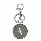 North Pointer Compass Pendant Key Ring - Silver + Black