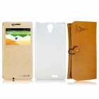 CUBOT S350 Leather Case + Tempered Screen Protector + Plastic Back Cover + Leather Bag