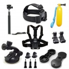 13-In-1 Accessories Kit for GoPro Hero 4 Black / Silver / Hero HD 3+ / 3 / 2 / 1 - Black