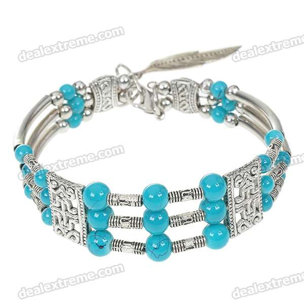 Mexican Turquoise Beads German Silver Cuff Bracelet