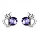 Women's Stylish Apple Shaped Purple Crystal Inlaid Earrings - Silver (Pair)