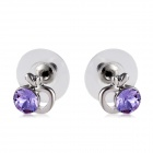 Stylish Apple Shaped Purple Crystal Inlaid Earrings - Silver (Pair)