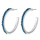 Large Semi-circular Sapphire Crystal Silver Earrings - Silver + Blue