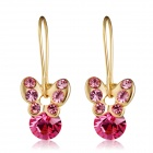 Stylish Shiny Crystal Studded Butterfly Style Pendant Earrings - Golden + Red (2 PCS)
