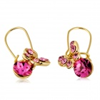 Shiny Crystal Butterfly Style Pendant Earrings - Golden + Red (2PCS)