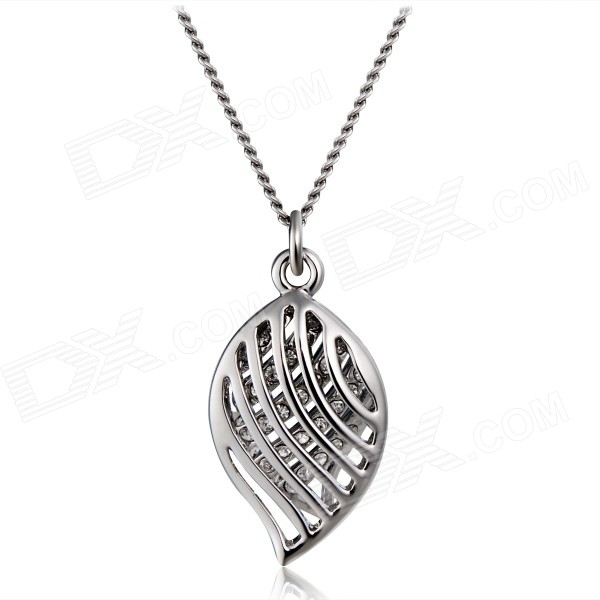 Women's Double Leaves Shaped Crystals Inlaid Pendant Necklace - Silver