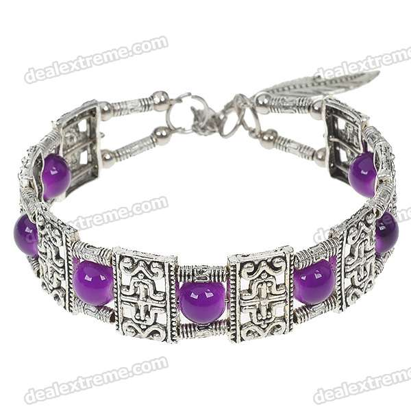 Fancy Purple Agate German Silver Cuff Bracelet все цены
