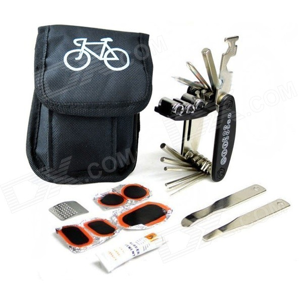 Multifunction Portable Bike / Tire Repair Kit - Black