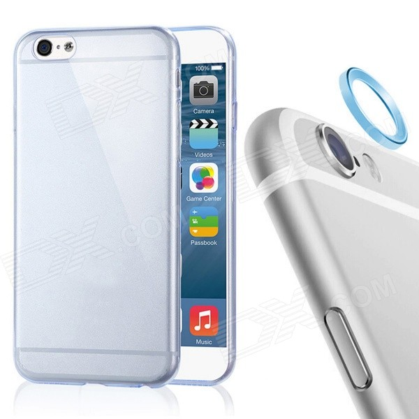 TPU Back Case + Lens Guard Ring Sticker for IPHONE6 - Transparent Blue