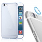 Protective TPU Back Case + Aluminum Alloy Lens Guard Ring Sticker for IPHONE 6 - Transparent Blue