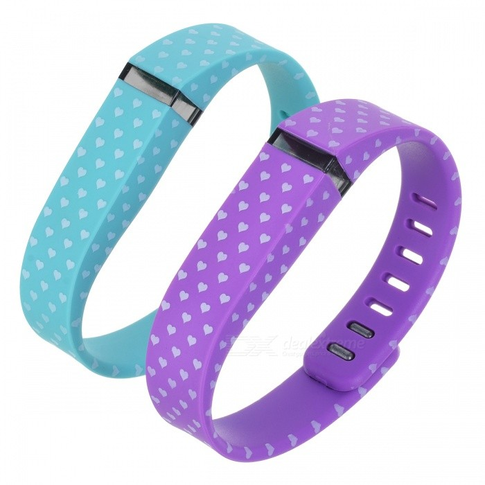 White Hearts Wrist Band for Fitbit Flex - Deep Pink + Purple(2PCS)