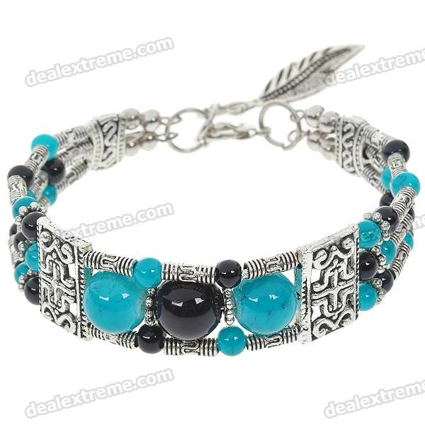 Mexican Turquoise with Black Onyx German Silver Cuff Bracelet
