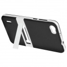 ENKAY TPU Back Case Cover w/ Stand for Huawei Honor 6 - Black + White