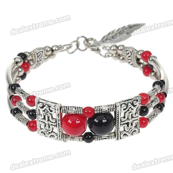 Red Agate with Black Onyx German Silver Cuff Bracelet все цены