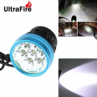 UltraFire 7-LED 3-Mode 5500lm White Light Bicycle Lamp - Black + Blue (6 x 18650 / US Plug)