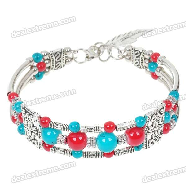 Mexican Turquoise with Red Agate German Silver Cuff Bracelet все цены