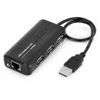 USB 2.0 10/100Mbps Ethernet Network Card + 3-Port USB 2.0 HUB Adapter - Black