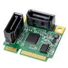 IOCREST IO-MPCE1061-2I Mini PCI-Express SATA 3.0 Controller Card - Green