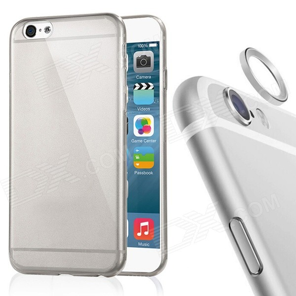 TPU Back Case + Lens Guard Ring Sticker for IPHONE 6 - Gray