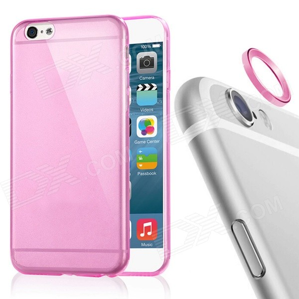 TPU Back Case + Lens Guard Ring Sticker for IPHONE 6 - Pink