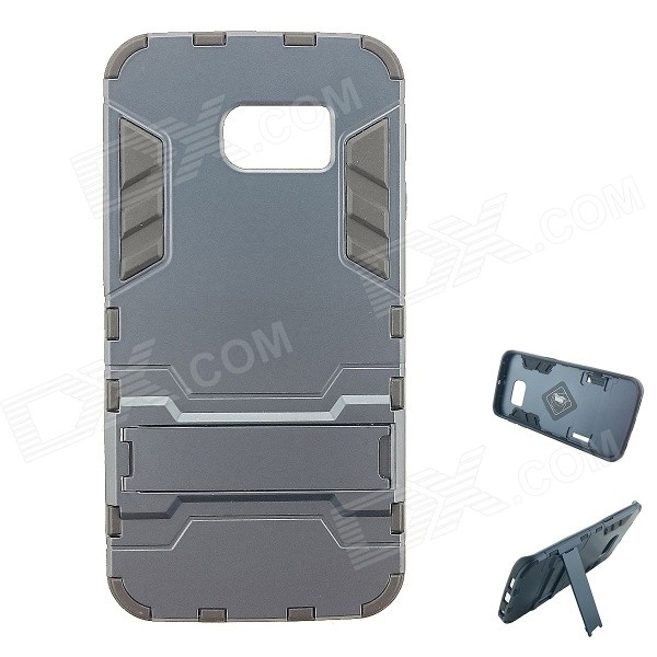 TPU + PC Back Case w/ Stand for Samsung S6 Edge - Light Grey + Black