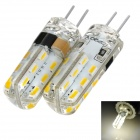exLED G4 220V 1.5W 3000K 100lm 24-SMD 3014 LED Warm White Light Bulb (2 PCS)