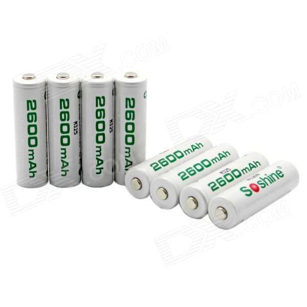 Soshine RTU Pre-Charged Rechargeable AA Ni-MH 2600mAh Batteries - White (8 PCS)