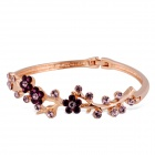 Xinguang Three Purple Plum Style Crystal Alloy Bracelet - Rose Gold