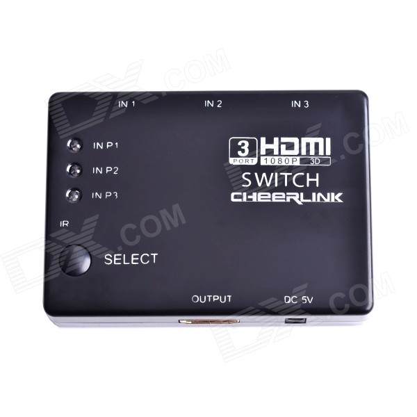 CHEERLINK RM-301 3x1 3D 1080P Mini HDMI V1.4b Switch w/ Remote Control