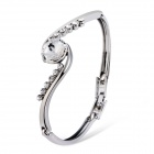 Xinguang Women's Stylish Shining White Crystals Inlaid Bracelet - Silver