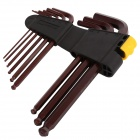 BESTIR BST-94301 9-in-1 Long Arm Ball Ended Hex Allen Key Wrenches Set Spanners Kit - Brown