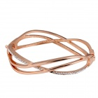 Three Intersection Lines Shape Crystals Inlaid Bracelet - Rose Gold