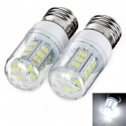 exLED E27 7W LED Bulb Lamp White Light 6500K 800lm 24-SMD 5730 - White + Yellow (AC 220~240V / 2pcs)