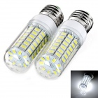 exLED E27 12W 6500K 1000lm 69-SMD 5730 LED White Light Bulb (AC220-240V, 2 PCS)