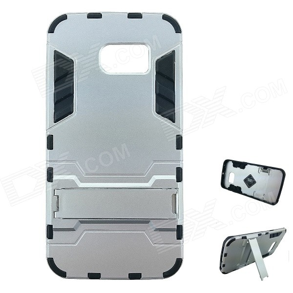 TPU + PC Back Case w/ Stand for Samsung S6 Edge - Silver White + BlackPlastic Cases<br>Form ColorSilver White + BlackModelS6-02MaterialTPU + PC + UV matte oilQuantity1 DX.PCM.Model.AttributeModel.UnitShade Of ColorSilverCompatible ModelsSamsung Galaxy S6 EdgePacking List1 x Case<br>