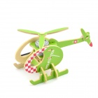Robotime P230 DIY Bee Rotating Solar Assembling Helicopter - Grass Green + White