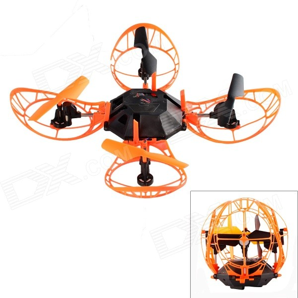HelicMAX 4-CH 2.4GHz R/C Quadcopter w/ 6-Axis - Black + Orange