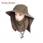 Unisex 360' Sunscreen UV Care Removable Outdoor Hiking Fishing Hat Cap - Army Green